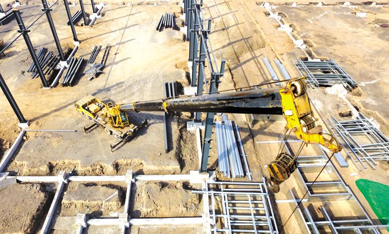 郊区苇泊工业园标准厂房建设项目施工现场
